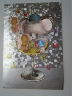 D156576 Drunk Mouse Maus Fallen  In Champagne Glass -Humour - Humour