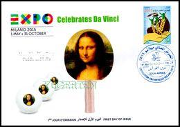 DZ 2014 FDC World Expo Milan 2015 Celebrates Da Vinci De Vinci Table Tennis Mona Lisa Joconde Gioconda Ping Pong - 2015 – Milan (Italy)