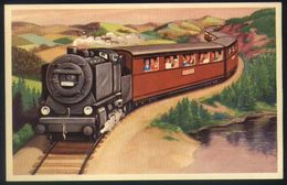 Z06 - Fantasy Card Unused - Steam Train Near Lake - Railway