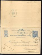 CONGO - ENTIER STIBBE NR 13a  DOUBLE - MATADI LIBRAMONT  1897 - TL1 - Entiers Postaux