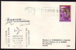CONGO - BELGIQUE FFC - LEOPOLDVILLE - ROME- BOEING SABENA 1960 - TL1 - Congo Belge
