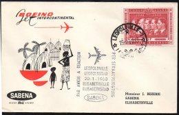 CONGO - BELGIQUE FFC - LEOPOLDVILLE - ELISABETHVILLE - BOEING SABENA 1960 - TL1 - Congo Belge