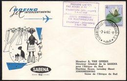 CONGO - BELGIQUE FFC - ELISABETHVILLE - JOHANNESBOURG AFRIQUE DU SUD - BOEING SABENA 1960 - TL1 - Congo Belge