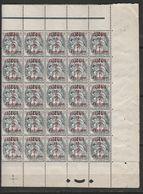 ALGÉRIE N° 1 1/2 C S 1C GRIS NOIR TYPE BLANC DIVERSES VARIÉTÉS DANS BLOC DE 25 AVEC REPÈRE NEUF SANS CHARNIERE - Algeria (1924-1962)