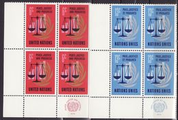 UN New York 1970 Mi 229-230,incription Block Of 4, MNH** VF - New York -  VN Hauptquartier
