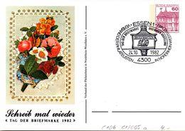"""BRD Privatganzs.-Postkarte PP106 C1/005a""""Tag Der Briefmarke 1982"""" SST 24.10.1982 ESSEN 1 - Postales Privados - Usados"""