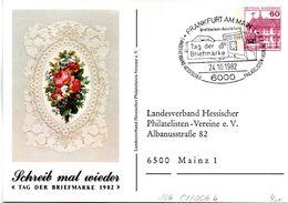 """BRD Privatganzs.-Postkarte PP106 C1/006b""""Tag Der Briefmarke 1982"""" SST 24.10.1982 FRANKFURT AM MAIN 1 - Postales Privados - Usados"""