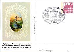 """BRD Privatganzs.-Postkarte PP106 C1/009""""Tag Der Briefmarke 1982"""" SST 24.10.1982 LÜNEBURG 1 - Postales Privados - Usados"""