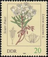 GERMAN DEMOCRATIC REPUBLIC - Scott #2256 Poisonous Plants, Ledum Palustre / Mint H Stamp - Toxic Plants