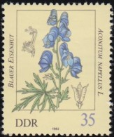 GERMAN DEMOCRATIC REPUBLIC - Scott #2258 Poisonous Plants, Aconitum Napellus / Mint H Stamp - Piante Velenose