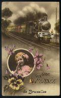Z06 - Fantasy Card Used - Steam Train - Une Pensée De Bruxelles - Schienenverkehr