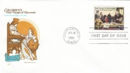 #2620 FDC Voyages Of Columbus 500th Anniversary Exploration Seeking Isabella's Aid, 24 April 1992 Illustrated Cover - First Day Covers (FDCs)