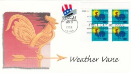 #3257 FDC 'H' (1-cent) Makeup Rate Weathervane Plate Number Block Of 4 With 'H' Stamp, 9 November 1998 Illustrated Cover - First Day Covers (FDCs)