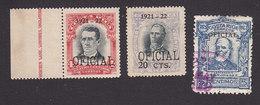 Costa Rica, Scott #O60, O62, O67, Mint Hinged/Used, Regular Issues Overprinted, Issued 1921-23 - Costa Rica