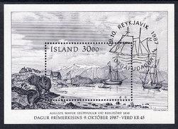 ICELAND 1987 Stamp Day Block  Cancelled.  Michel Block 8 - Blocks & Sheetlets