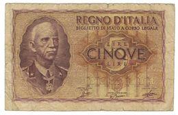 Italy, 5 Lire, V. Emmanuele ,  Used, See Scan. - [ 1] …-1946 : Kingdom