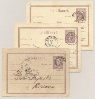 Nederlands Indië - 3x 5 Cent Willem III, Briefkaart G1 Gebruikt Met Kleinrond Stempels - Nederlands-Indië
