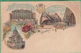 37 - Souvenir De Tours - L'Hôtel De Ville - Rue Nationale - Eglise Saint Martin - Editeur: Carl Klunzli N°1493 - Tours