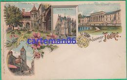 37 -Souvenir De Tours Cloître La Psalette, N.D La Riche,Palais De Justice,Tour De L'Horloge -Editeur:Carl Klunzli N°1492 - Tours