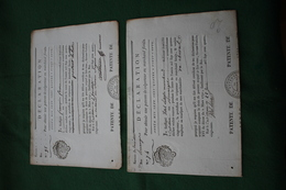 2 DECLARATIONS POUR OBTENIR UNE PATENTE DE COLPORTEUR 1791 GIRONDE - Seals Of Generality