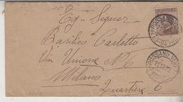 STORIA POSTALE 1922 REGNO CENT. 40 ROSSANO VENETO TIMBRO NUMERICO PER MILANO QUARTIERE 6 - Storia Postale
