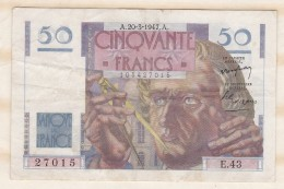 Billet 50 Francs Le Verrier Du 20 3 1947. Alph. E.43 N° 27015. - 1871-1952 Circulated During XXth