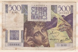 Billet 500 Francs Chateaubriand Du 28 3 1946. Alph. B.82 N° 08888 - 1871-1952 Circulated During XXth