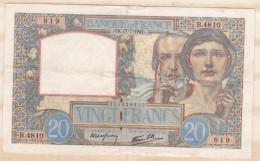 Billet 20 Francs Science Et Travail Du 17 7 1941. Alph. B.4810 N° 819 - 1871-1952 Circulated During XXth