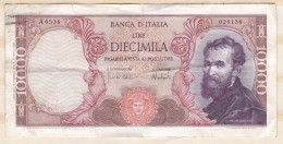 Billet 10000 Lire Michel Angelo  1973, Alph. A.0536 N° 028136 - 10000 Lire