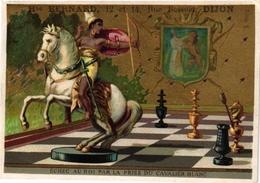 1 Card C1880 Chromo CHESS Game, Jeu D' ECHECS SCHACH Litho  BOGNARD Paris   ECHEC Au Roi Arow Bow Horse King - Echecs