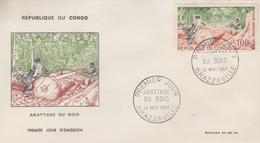 Enveloppe  FDC  1er  Jour   CONGO    Abbatage  Du  Bois   1964 - FDC