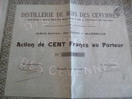 Action 100 Francs Distillerie De Bois Des Cévennes 1907 - Industrie