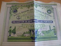 Action Obligation 500 Francs Société Anonymes Des Tuileries De Générac Gard 1929 - Industrie
