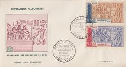 Enveloppe  FDC  1er  Jour   GABON   Sauvegarde  Des  Monuments  De   Nubie   1964 - Egyptology