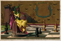 1 Trade Card Chromo CHESS  Game, Jeu D'ECHECS,  SCHACH Litho  BOGNARD, PUB Lille Rousseaux  Le Roi Noir Bien GARDE - Chess