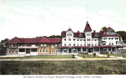 Vintage 1905-1910 Postcard - Attica Indiana Mineral Springs - Mudlavia Hotel - 2 Scans - United States