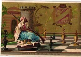 1 Trade Card Chromo CHESS Game, Jeu D' ECHECS,  SCHACH  Spiel Pub Litho  BOGNARD  La Tour Noir DEFENDU Par Le Roi Berber - Chess