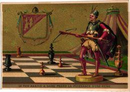 1 Trade Card Chromo  CHESS Game, Jeu D'  ECHECS,  SCHACH SPIEL  Pub Litho BOGNARD  Le Pion Arrivé A Dame ....RARE - Chess