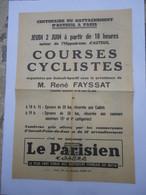 Rare Prospectus 1960 Course Cycliste Centenaire Du Rattachement D'Auteuil à Paris - AUTEUIL-SPORTIF M. René Fayssat - Radsport