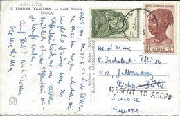 AOF -  SUISSE 1953, Abidjan Carte Postale Mal Dirigée, Cachet  MISSENT TO ACCRA (Ghana), Pour Riehen Bâle Suisse - Briefe U. Dokumente
