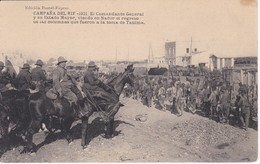 POSTAL DE LA CAMPAÑA DEL RIF DEL AÑO 1921 - EL COMANDANTE GENERAL Y SU ESTADO MAYOR VIENDO NADOR (MARRUECOS) - Otras Guerras