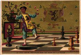 1 Card Chromo  Juego De Achedraz , CHESS Game, Jeud' ECHECS, SCHACH  SPIEL   Litho BOGNARD  Fou Noir Menacé Par Le Pion - Chess