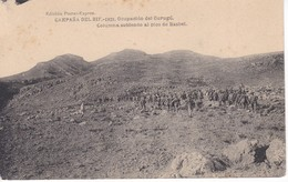 POSTAL DE LA CAMPAÑA DEL RIF DEL AÑO 1921 - OCUPACION DE GURUGU - COLUMNA SUBIENDO AL PICO BASBEL (MARRUECOS) - Otras Guerras