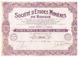 Action Ancienne - Sté D' Etudes Minières De Bougie - Titre De 1924 - - Afrique