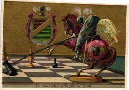1 Trade Card Chromo  CHESS Game, Jeu D' ECHECS,  SCHACH Spiel Litho BOGNARD  Le Cavalier Attaque La Tour - Echecs