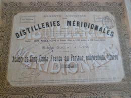 Action 500 Francs Distilleries Méridionales 1898 Montredon Pouzin Ardèche - Landbouw