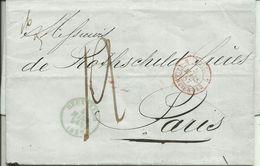 1857  Lettre De Bruxelles Vers Paris  Frères Rothschild  Cachet Frontière Valenciennes - Belgique
