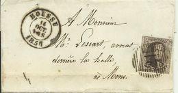 1857  Petite Lettre De Boussu (21) Vers Mons - 1851-1857 Médaillons (6/8)