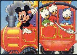 Z06 - Train With Mickey Mouse And Huey, Dewey, And Louie - 2 Unused Cards - Disney