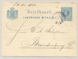 Nederland - 1882 - 5 Cent Willem III, Vraag Briefkaart G20V Echt Gebruikt Van Groningen Naar Brandenburg - Postal Stationery